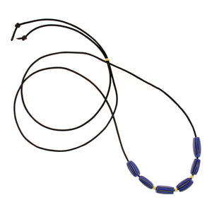 The African Blue Striped Glass Bead Necklace