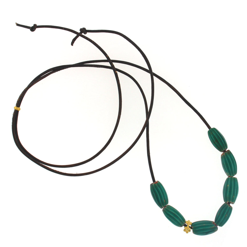 The African Turquoise Striped Bead Necklace