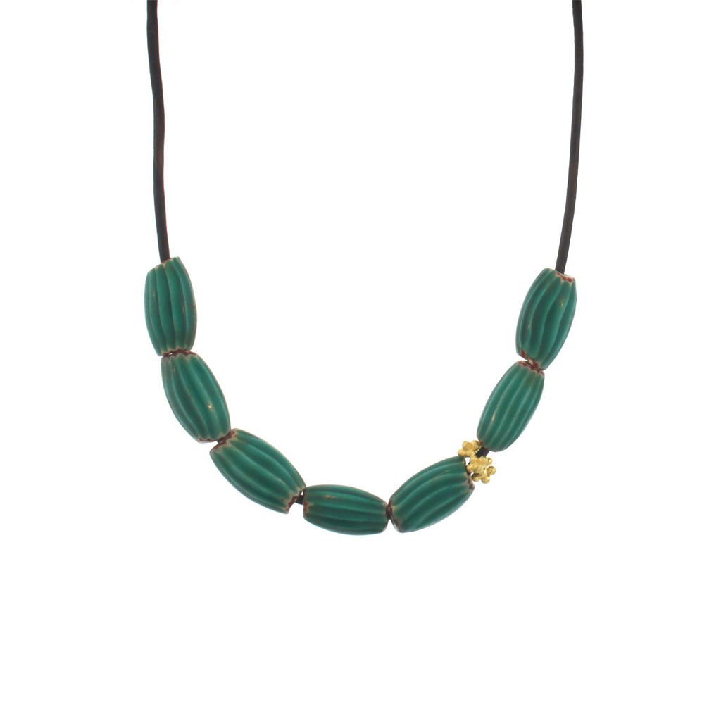 An African Turquoise Striped Bead Necklace