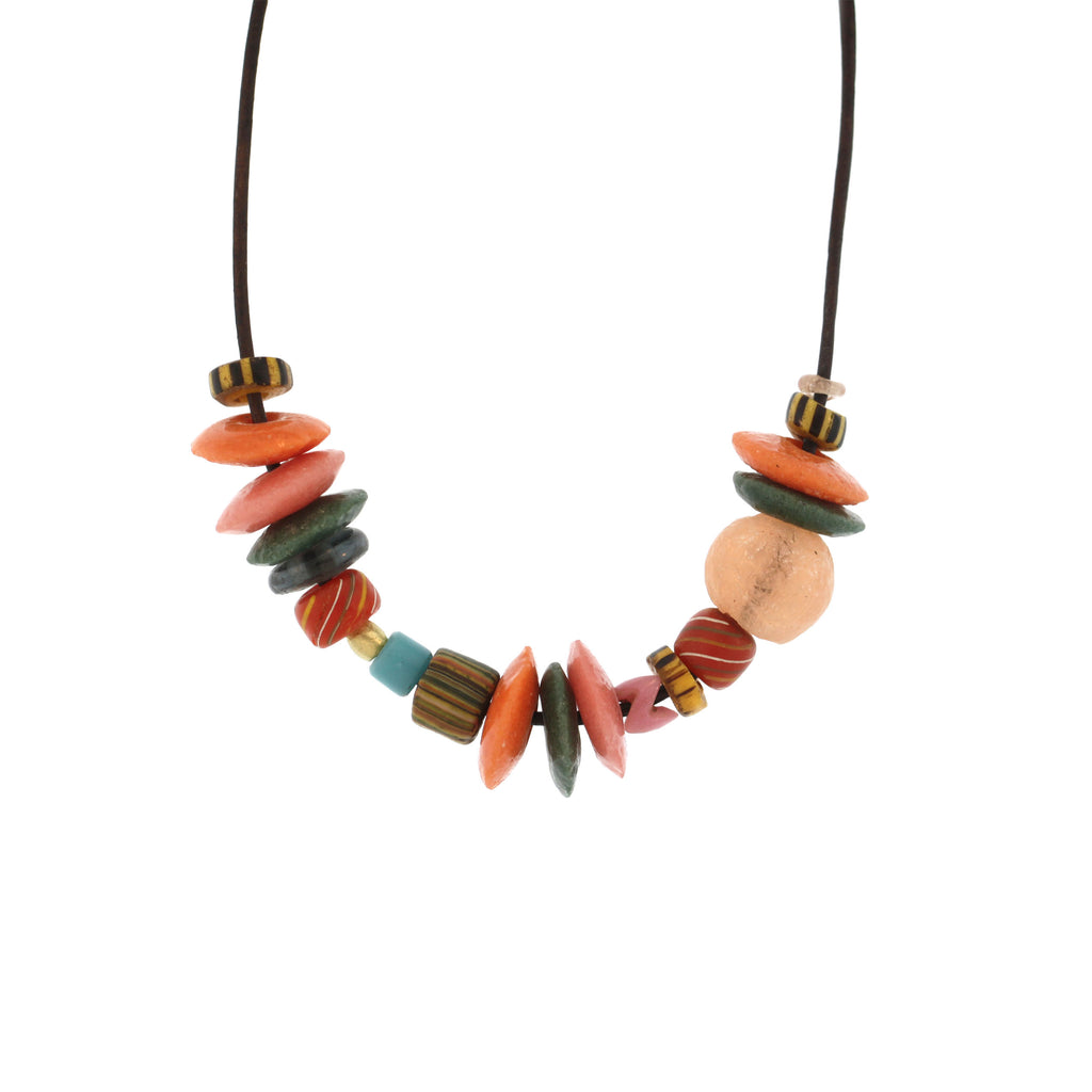 An Multicolored Glass Bead Necklace