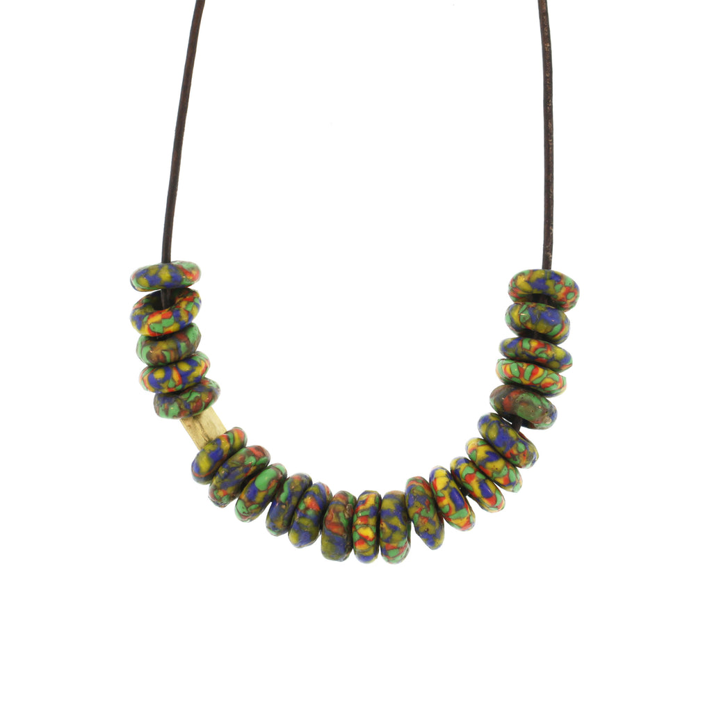 A Confetti Green Recycled Glass Bead Necklace