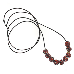 The African Orange Patterned Bead Necklace