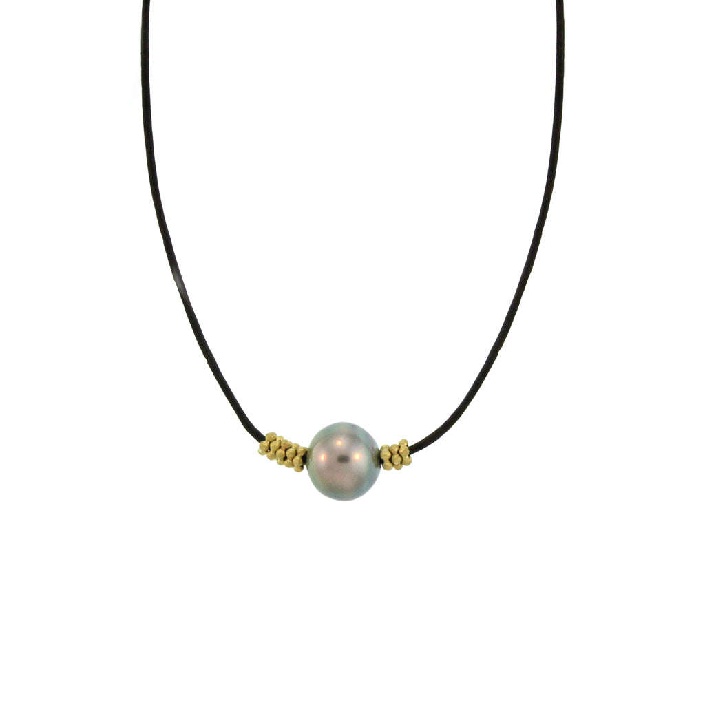 A Tahitian Pearl + Flower Bead Necklace