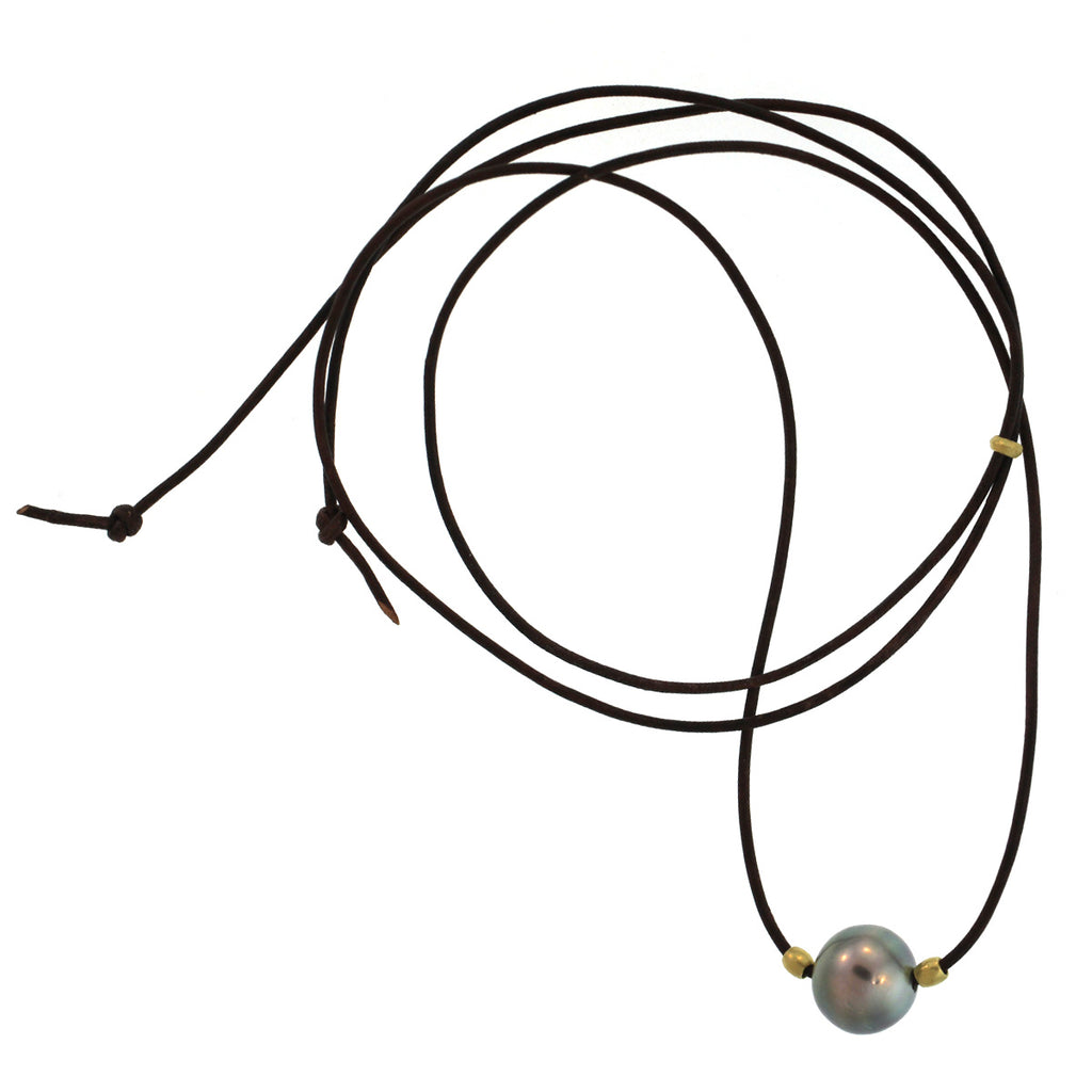 A Tahitian Pearl + Barrel Bead Necklace