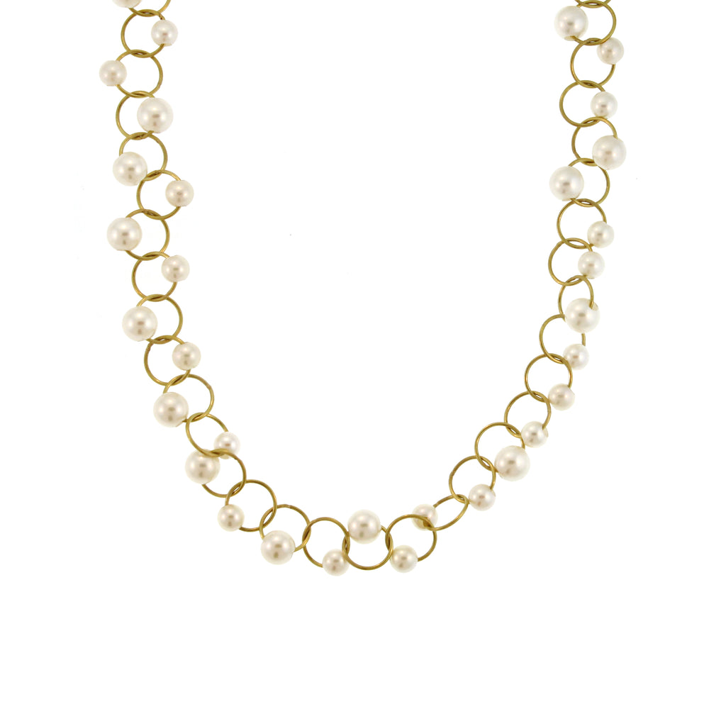 An Akoya Pearl Lace Collar Necklace