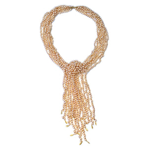 The Freshwater Pearl & Gold Lotus Leaf Scarf Necklace