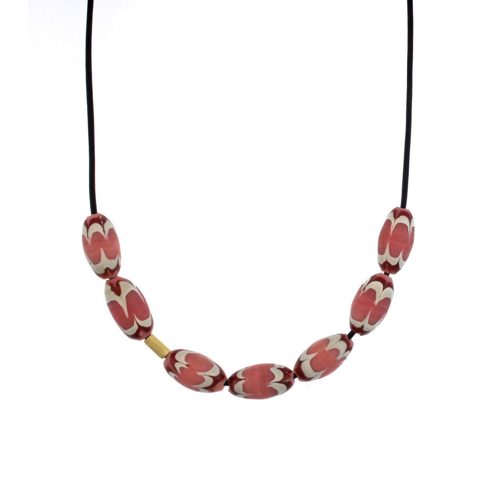 A Pink, Red, + White Swirl Bead Necklace