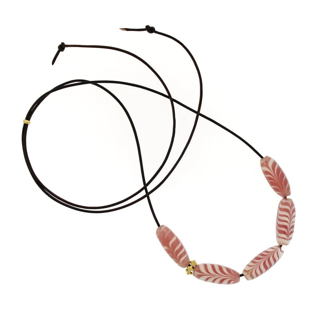 The Indonesian Pink + White Swirl Glass Bead Necklace