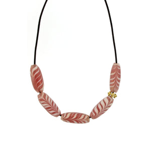 An Indonesian Pink + White Swirl Glass Bead Necklace
