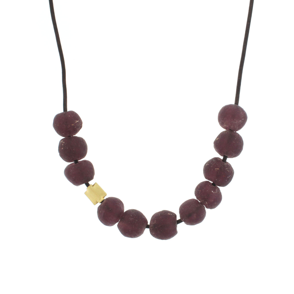 Recycled Glass Bead Necklace - Purple