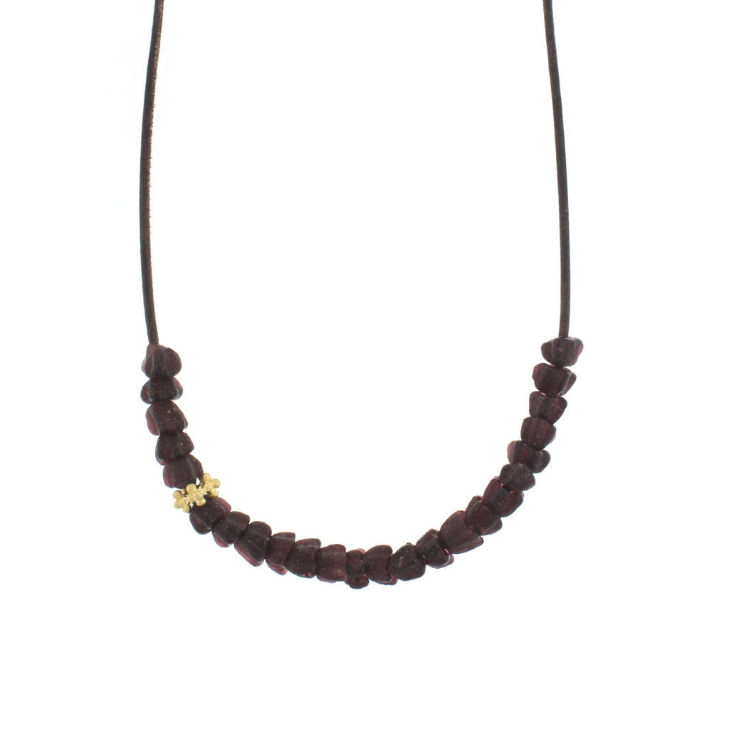 Recycled Glass Tulip Bead Necklace - Purple