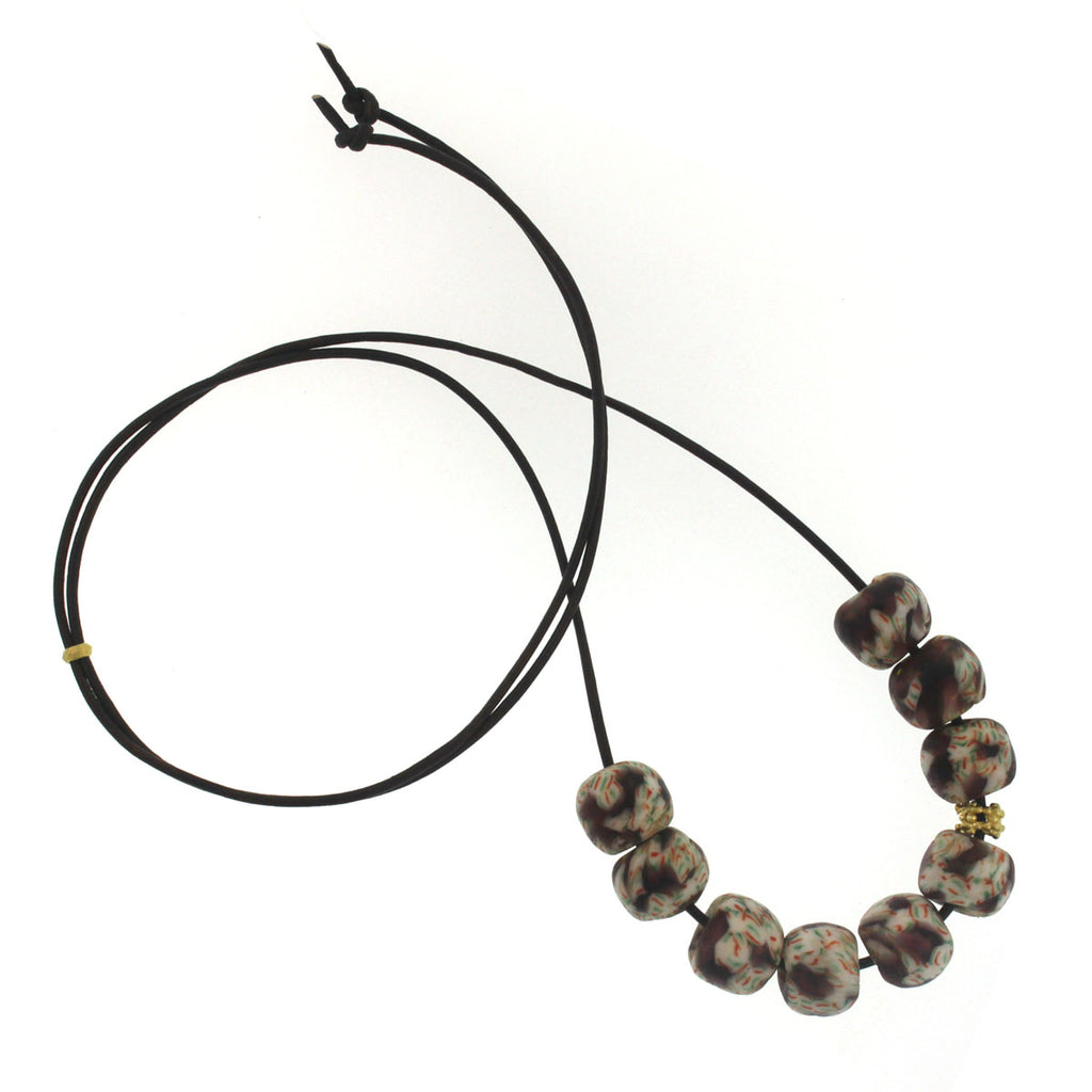 A Purple + White Patterned Glass Bead Necklace