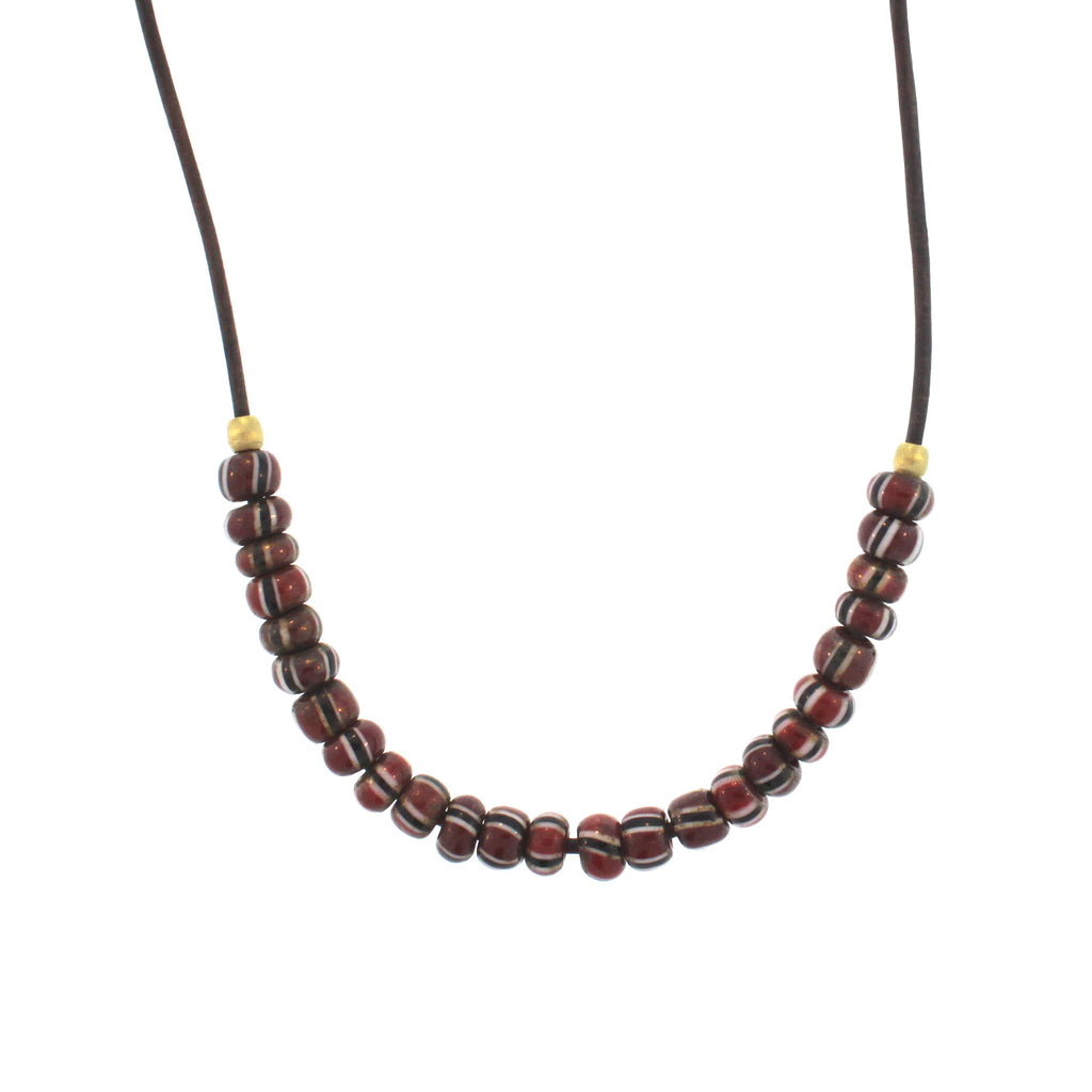 Red + Black Striped Bead Necklace