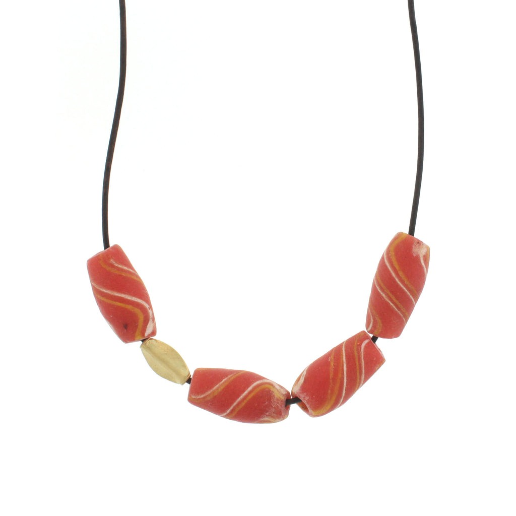 African Orange Swirl Bead Necklace