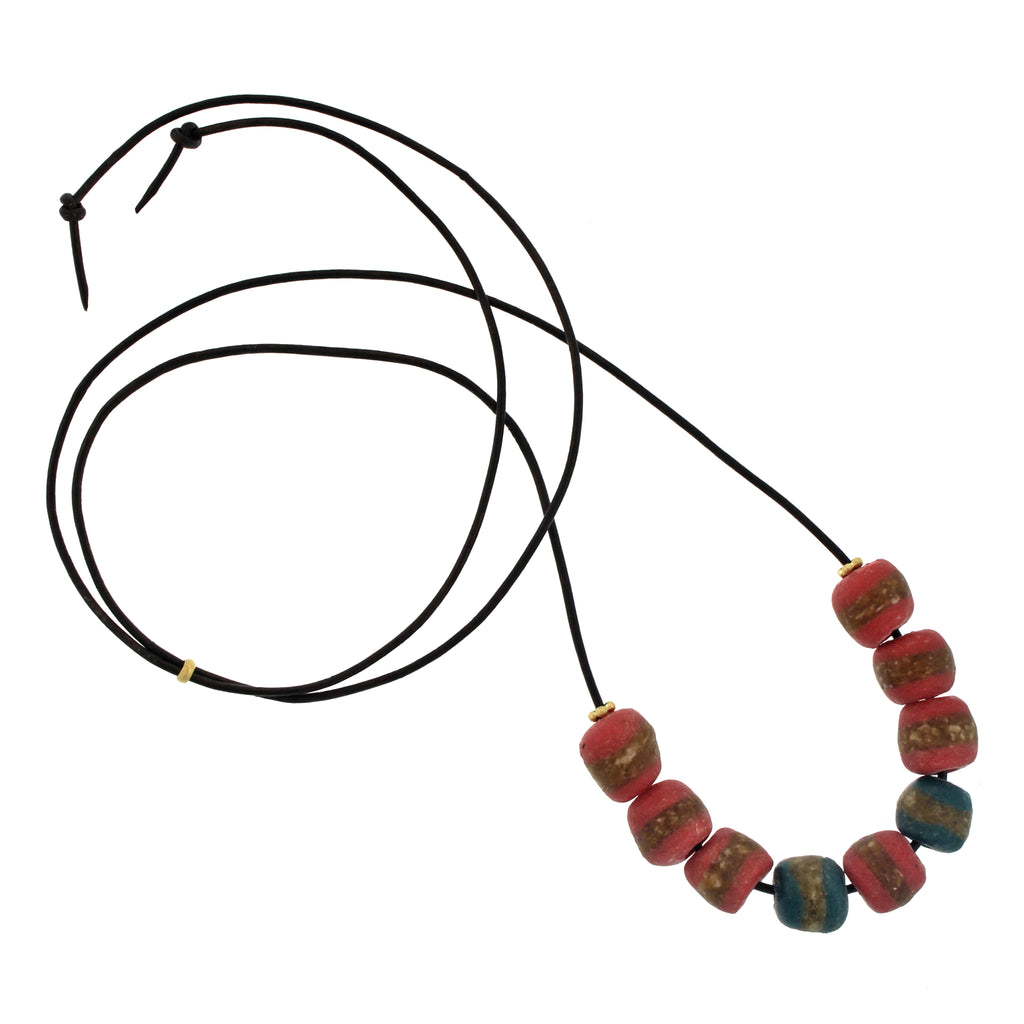 A Salmon, Teal, + Brown Striped Bead Necklace