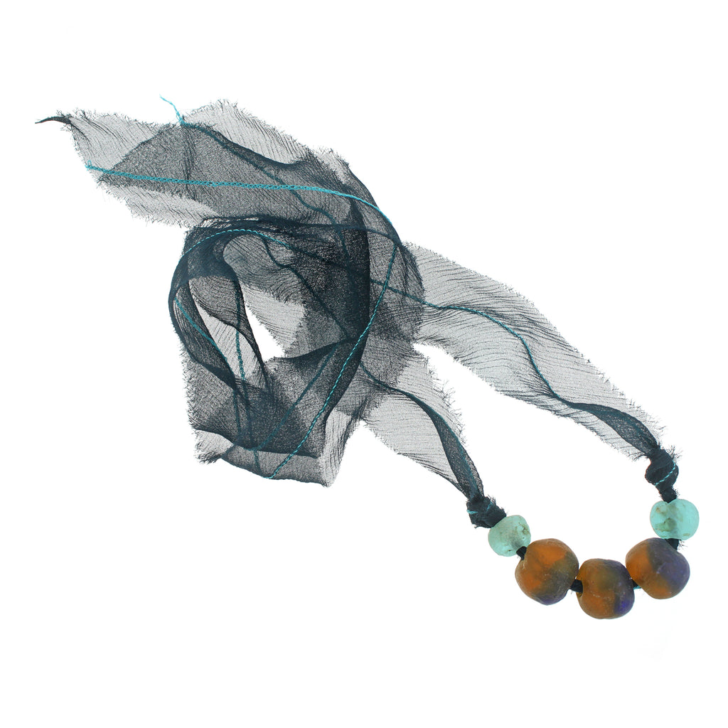 The African Glass Beads with Peacock Silk Chiffon Tie Necklace