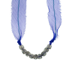 African Glass Beads with Tanzanite Blue Silk Chiffon Tie Necklace