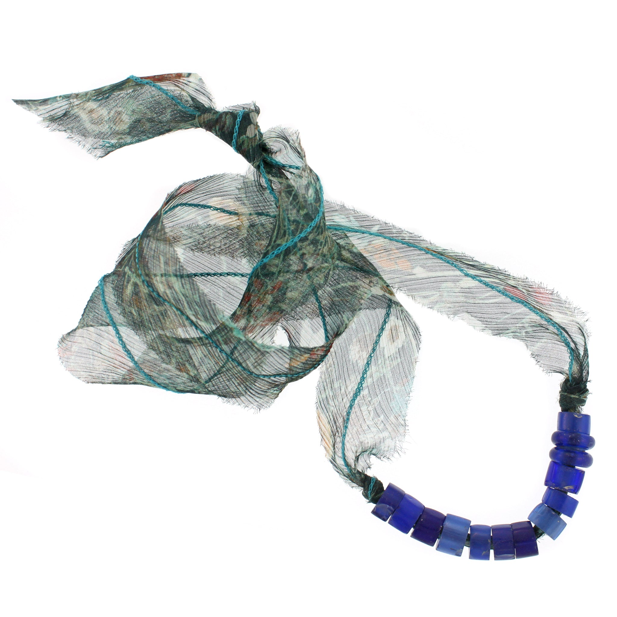 African Glass Beads with Liberty Emerald Silk Chiffon Tie Necklace