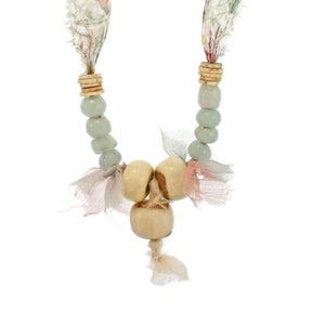 The Lacquered Wood, Glass & Shell Necklace on Liberty Silk Chiffon Tie