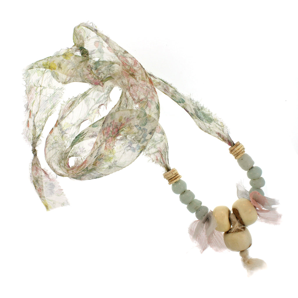Lacquered Wood, Glass & Shell Beads with Liberty Print Silk Chiffon Multi-tie Necklace