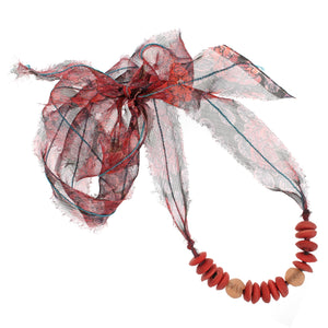 The African Glass Beads with Liberty Coral Daydream Print Silk Chiffon Tie Necklace