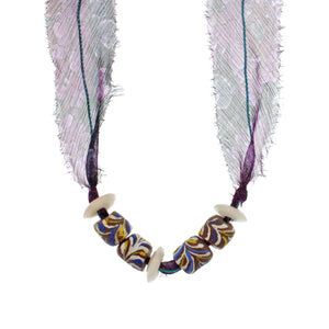 The African Multi-colored Bead with Liberty Violet Daydream Silk Chiffon Tie Necklace