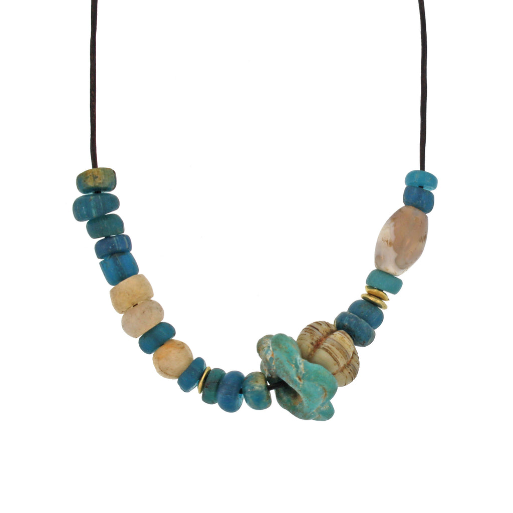 An Ancient Multi-shaped Blue + Gold Bead Necklace