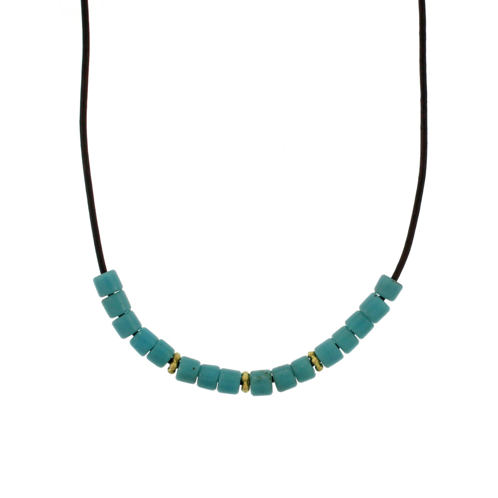 African Aqua Glass Bead Necklace