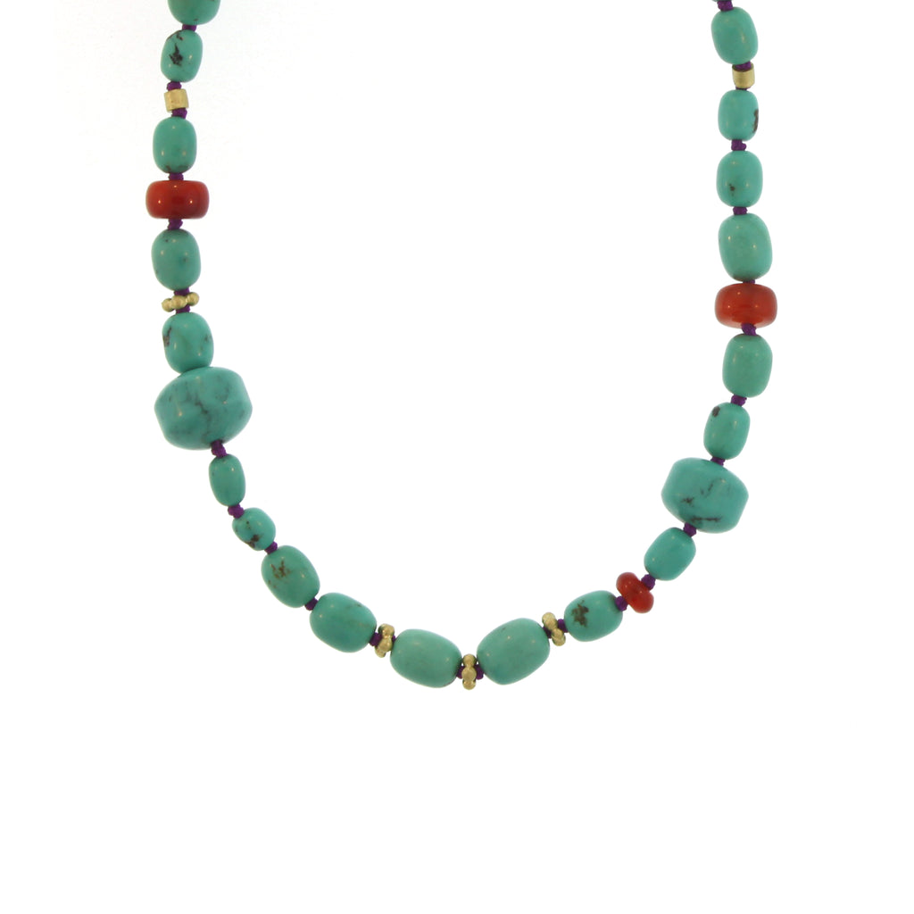 A Turquoise, Carnelian, and Gold Bead Necklace