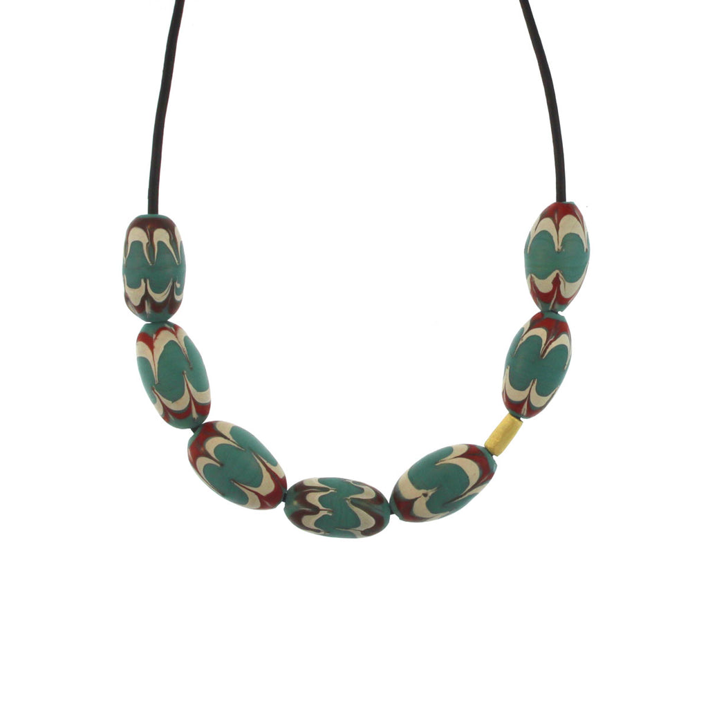 A Red, Turquoise, + White Swirl Bead Necklace