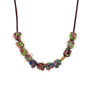 Antique Venetian Glass Necklace - Harlequin Rose