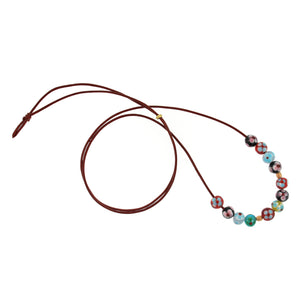 Venetian Flower Glass Beads on Leather