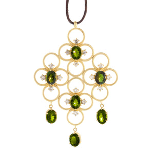 The Clover Cluster Pendant with Tourmaline + Diamonds
