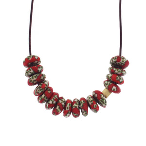 A Recycled Red and Green Glass Bead Necklace