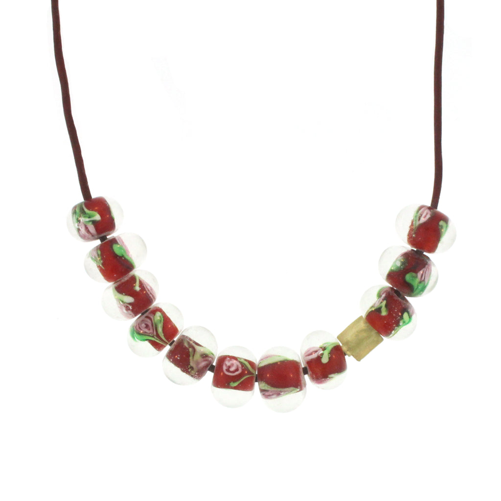 Antique Venetian Glass Necklace - Red Rose