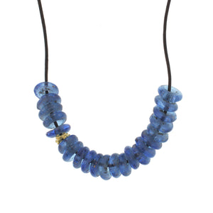 African Glass Bead Necklace - Clear Blue