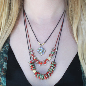 African Red and Green Speckled Recycled Glass Bead Necklace