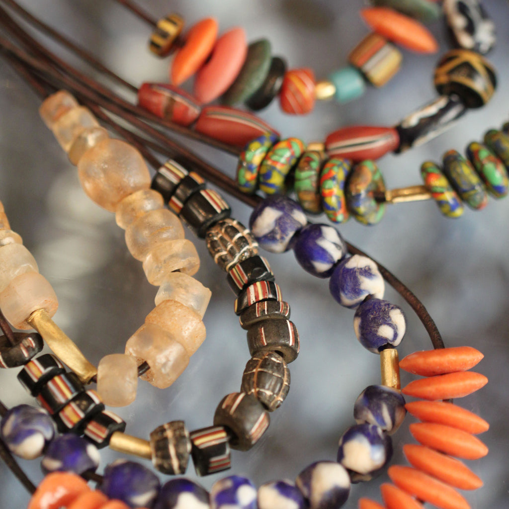 An Earth-Toned Vintage Glass Beaded Necklace