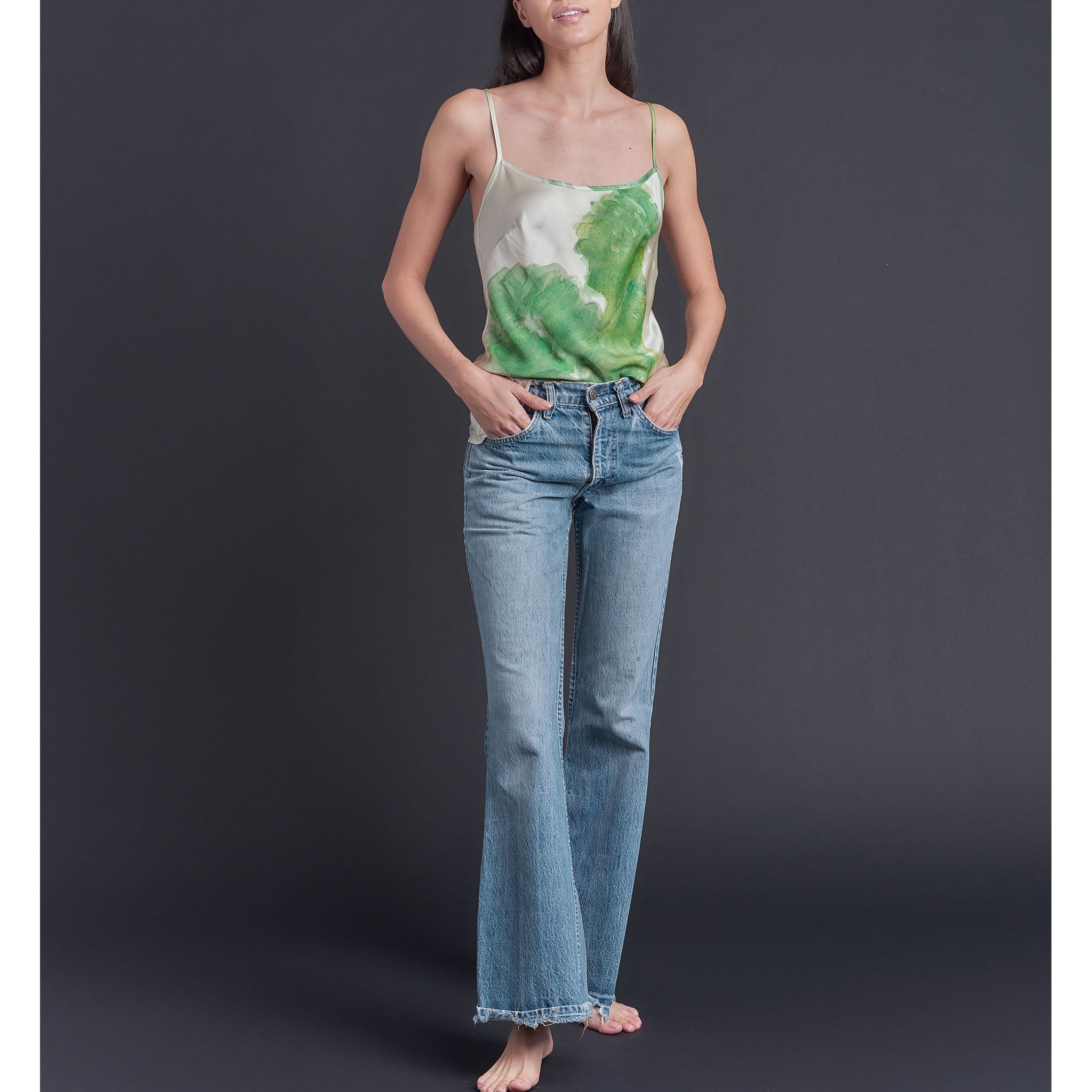 One of a Kind Olwen Bias Cut Camisole in Hand Painted Silk Charmeuse