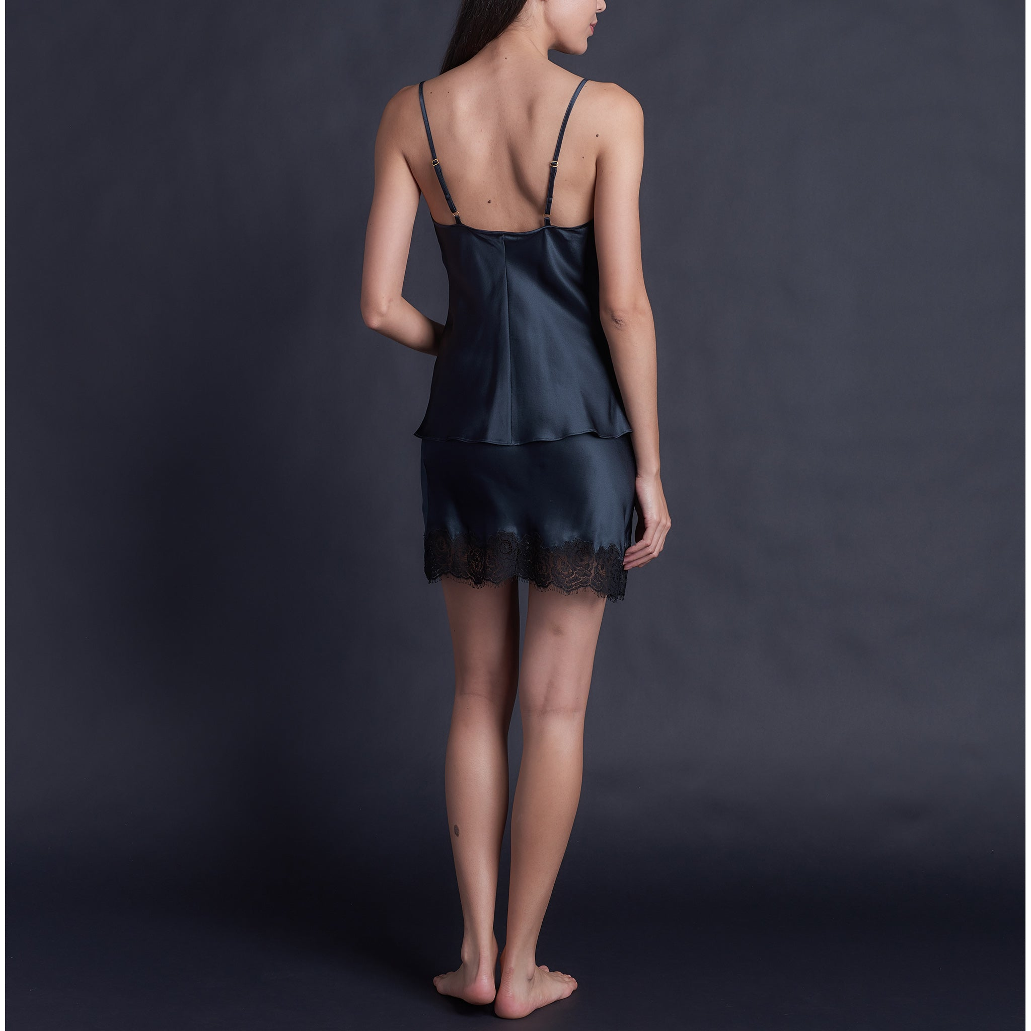 Bias Cut Camisole in Sapphire Silk Charmeuse