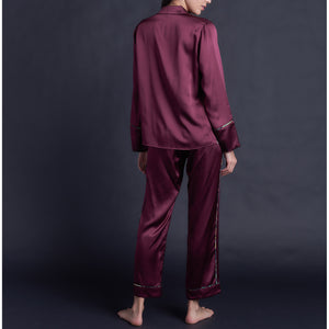 Annabel Pajama Top in Garnet Silk Charmeuse
