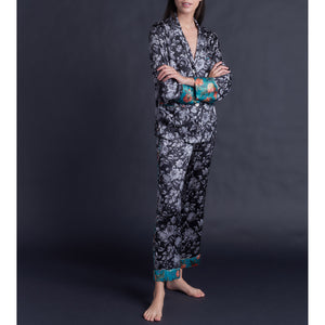 Annabel Pajama Top in Gracefully Liberty Print Silk Charmeuse