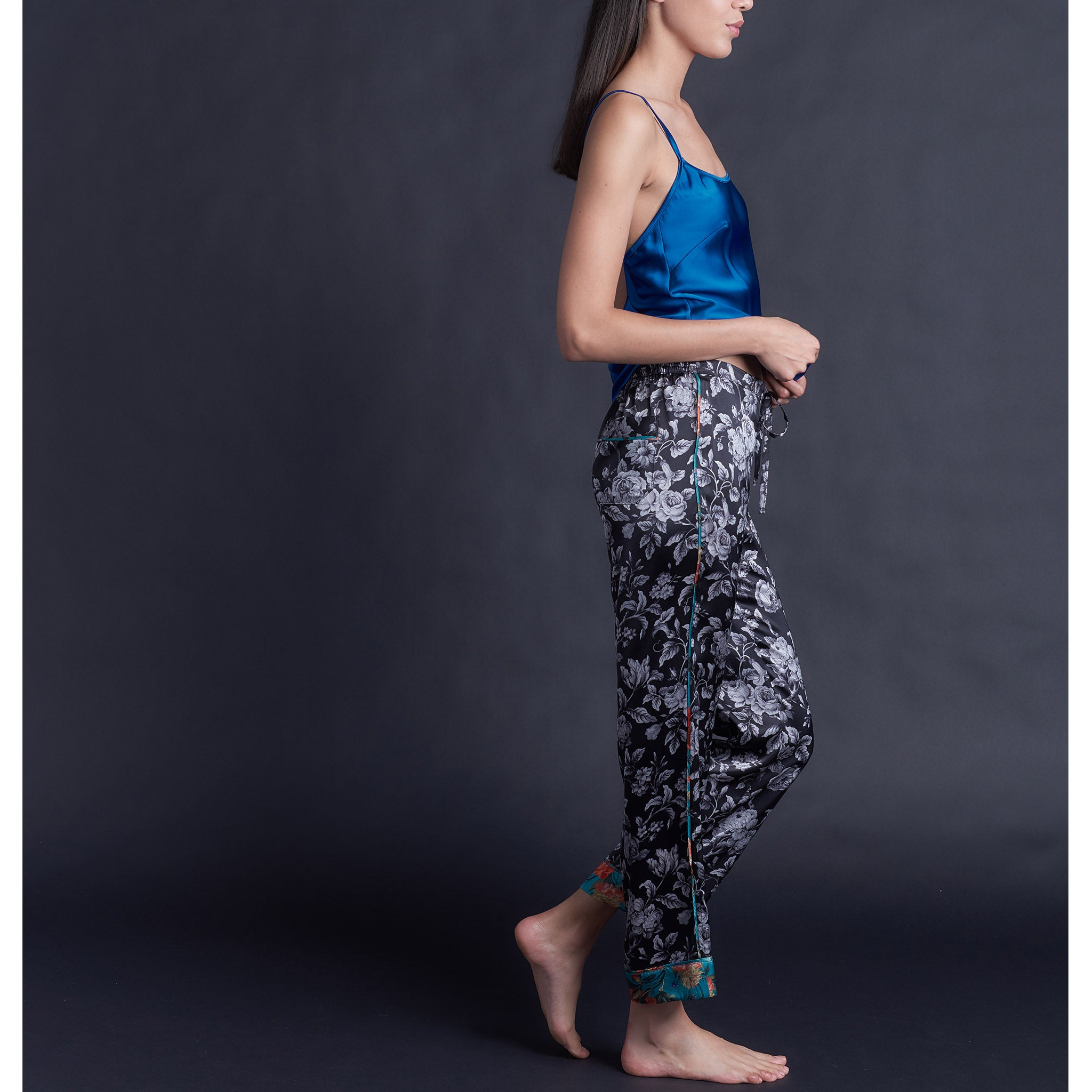 Annabel Pajama Pant in Gracefully Liberty Print Silk Charmeuse
