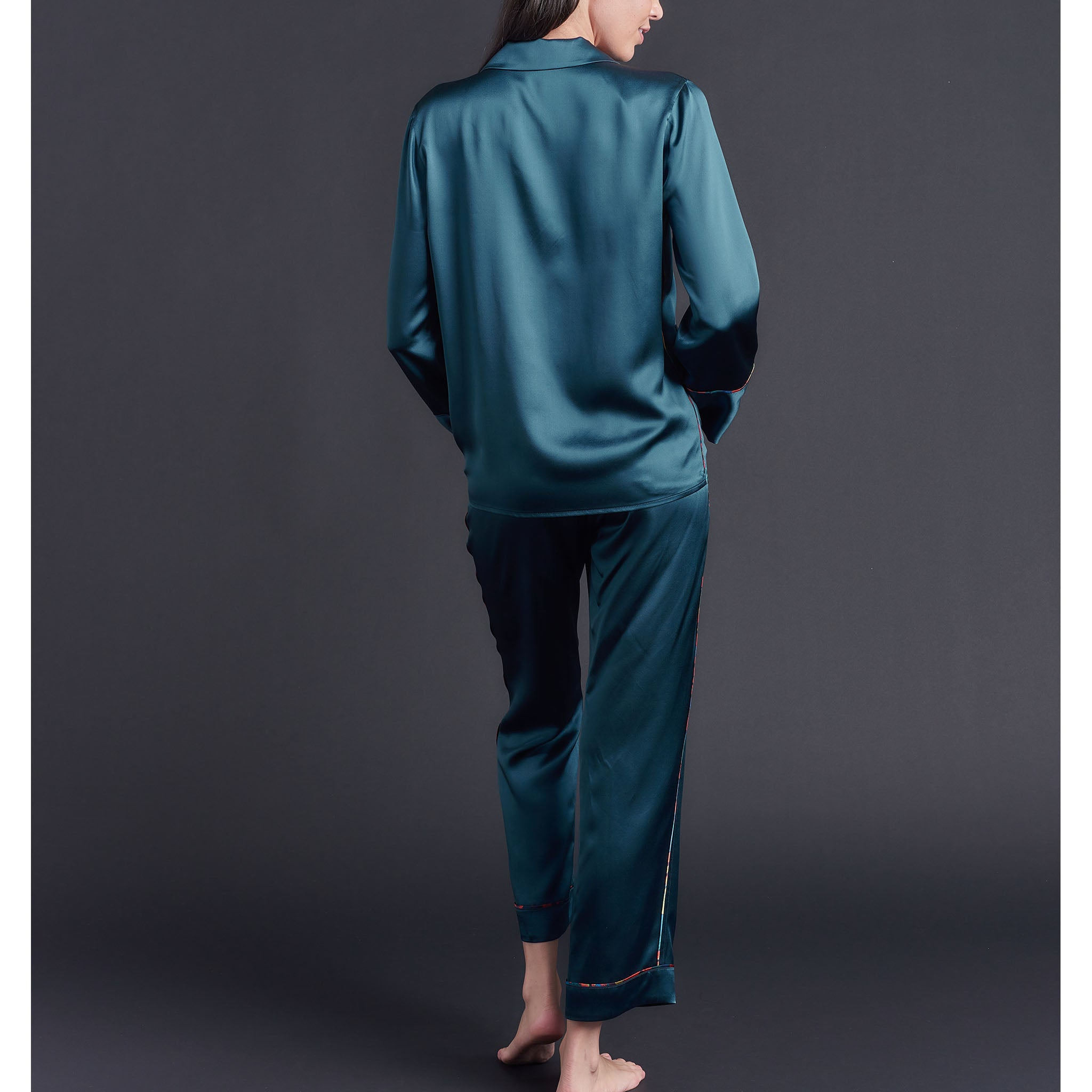 Annabel Pajama Top in Peacock Silk Charmeuse