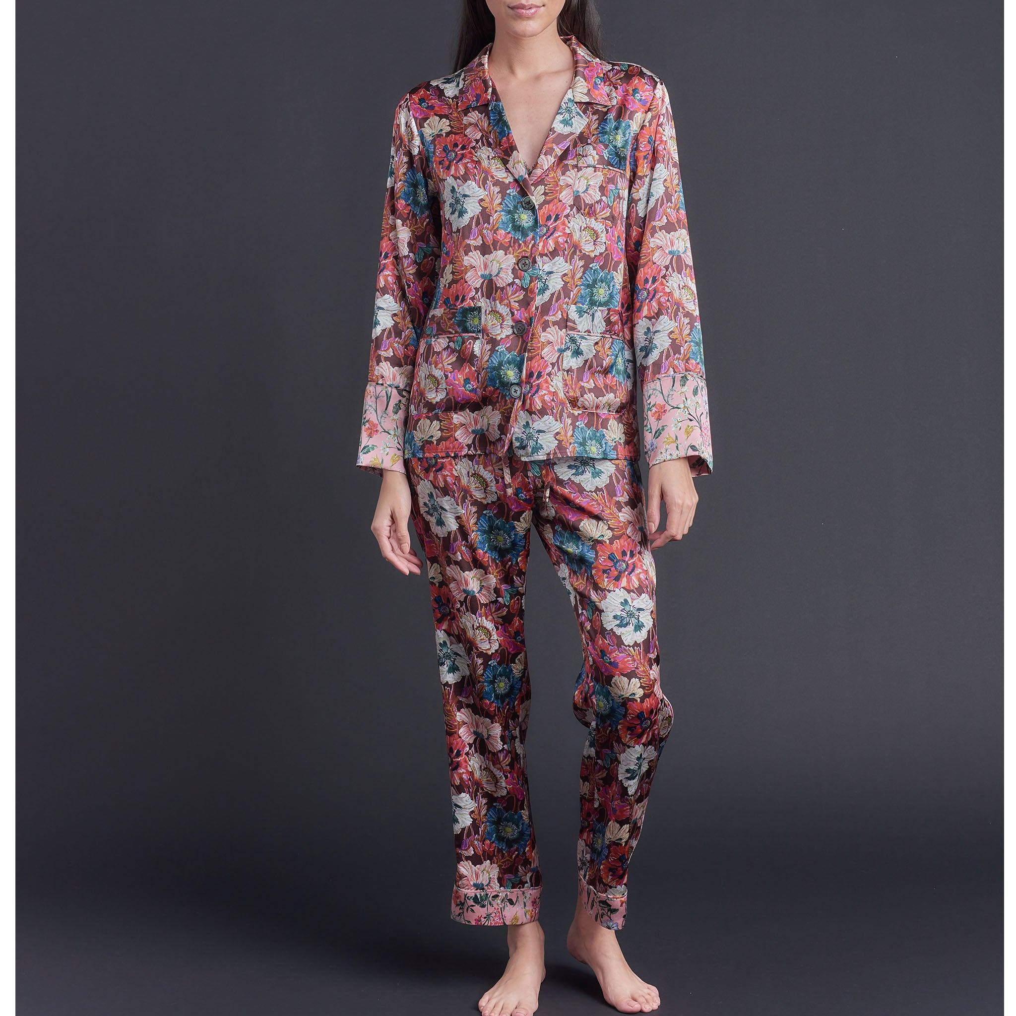 Annabel Pajama Top in Poppy Liberty Print Silk Charmeuse