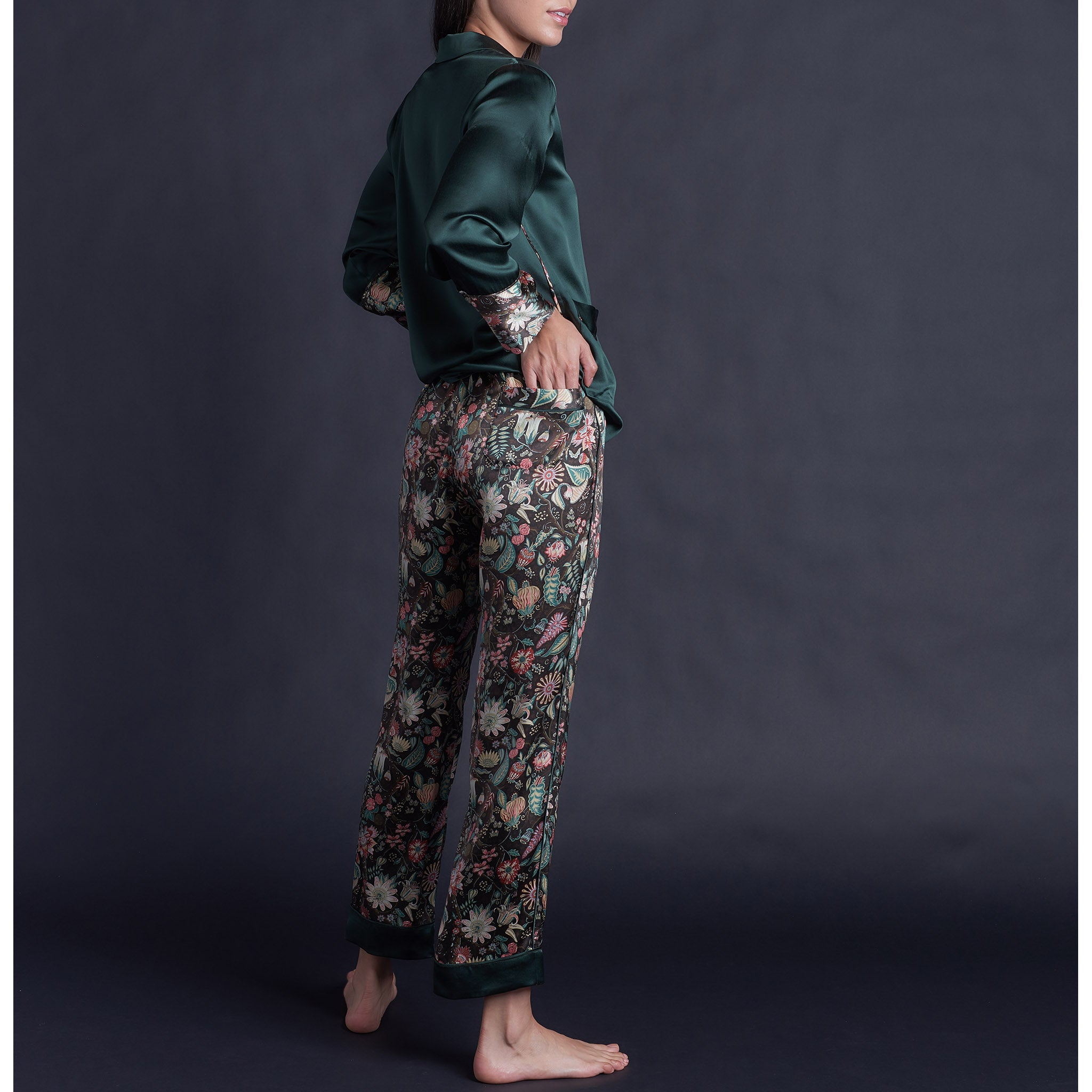 Serena Pajama Pant in Tree of Life Silk Charmeuse