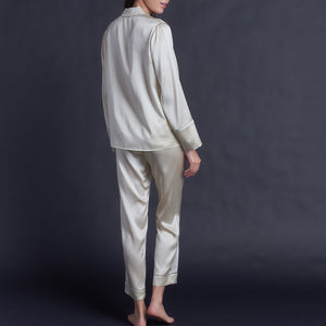 Annabel Pajama Pant in Pearl Silk Charmeuse