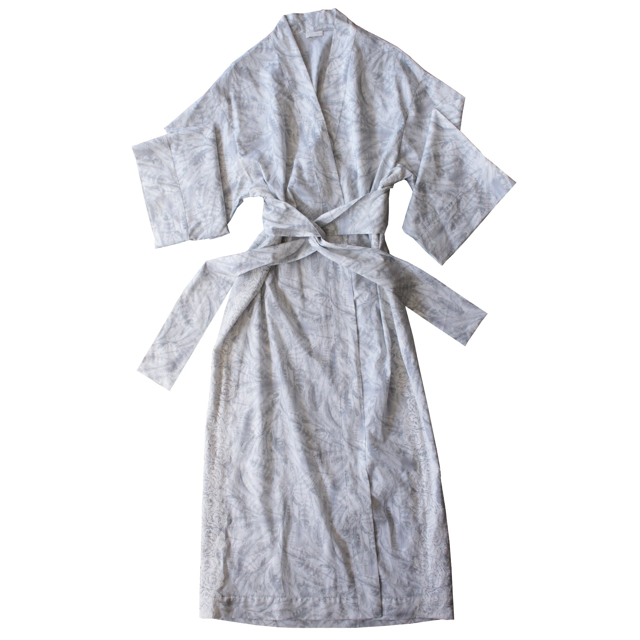 Asteria Kimono Robe in Liberty of London Pale Feathers Cotton with Lace