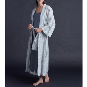 Asteria Kimono Robe in Cotton Liberty of London Pale Feathers with Lace