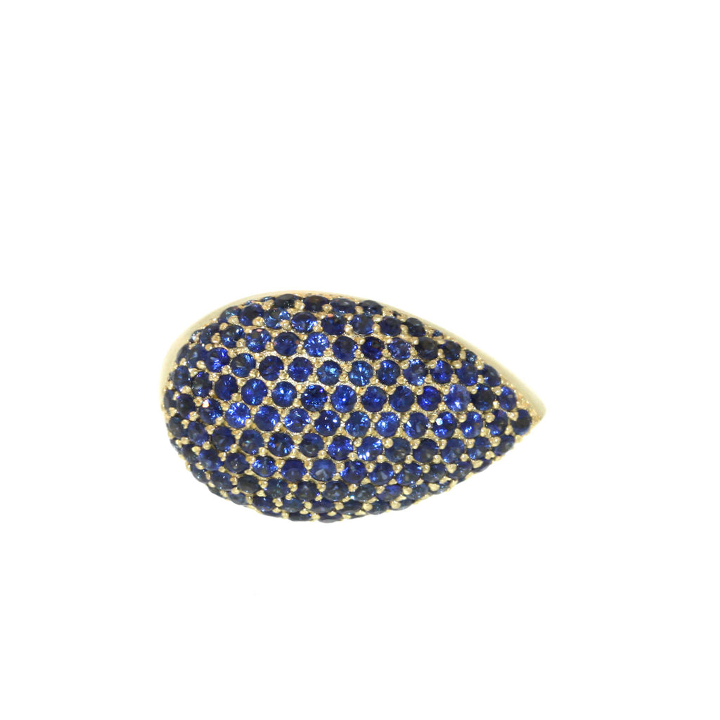 Pave Blue Sapphire Queens Ring